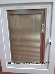 Blinds Closed 225x300 Sound Proofing or Noise Damping Cancellation / Reducing Barrier: UPVC Windows & Doors Solutions Now Come with Built in Curtain Blinds (Optional Woodgrain Aluminium Frame Door)