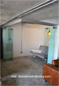 Frameless Door system For Flexible Study Room All Glass Panel Collapse Position 206x300 Official Site of Latest Frameless Doors System & Flying Door Designs: Space Design Solutions for protecting Home Balcony, Patio, Room Dividers, Home Office, Office Partition, Co Space Solutions and more!