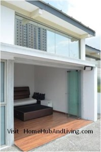 Full Penthouse View Closed Frameless Door 199x300 Frameless Door System and Flying Door Design: Enjoy Up Close Full Nature Outdoor Sky View Beauty Experiences Direct from Singapore Penthouse Bedroom Through Unblock Balcony Open Spaces