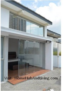 Full Penthouse View Flying Door Open for optional easy access 206x300 Frameless Door System and Flying Door Design: Enjoy Up Close Full Nature Outdoor Sky View Beauty Experiences Direct from Singapore Penthouse Bedroom Through Unblock Balcony Open Spaces