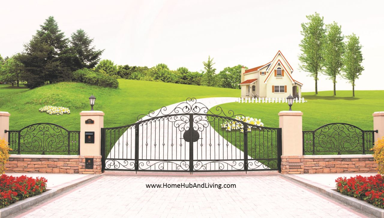 Grand Entrance Design FKT 001 Singapore wide range offering customize designs of balcony staircase railings, fences, metal doors, driveway gates, entrance gates, gazebos and metal artworks from aluminium & wrought iron material information