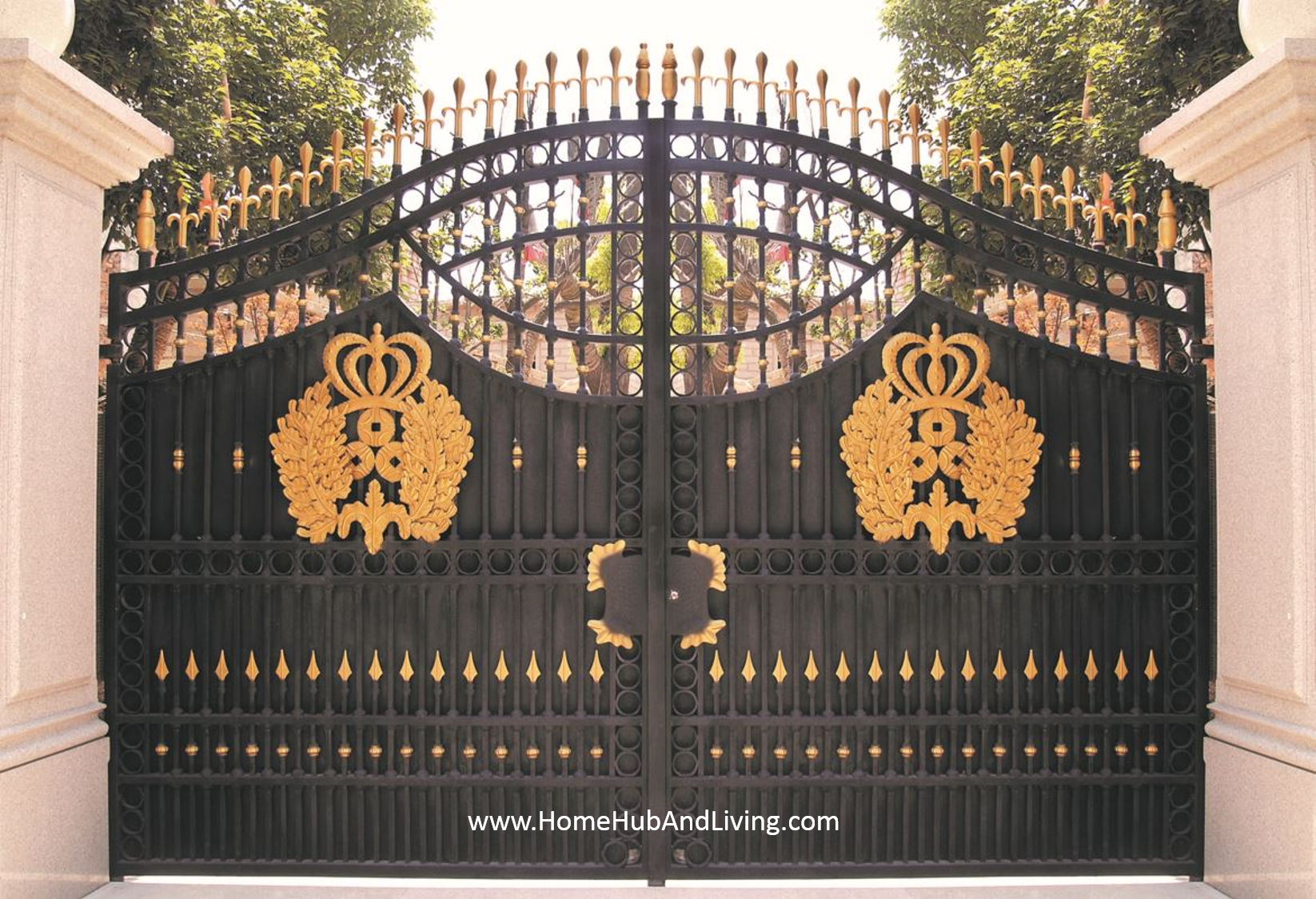 Grand Entrance French design wrought iron Gate FZY TM024 Sound Proofing or Noise Damping Cancellation / Reducing Barrier: UPVC Windows & Doors Solutions Now Come with Built in Curtain Blinds (Optional Woodgrain Aluminium Frame Door)