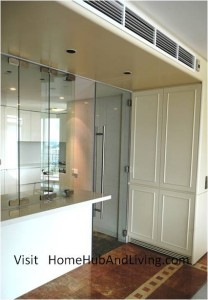 Frameless Doors System selected to match with Kitchen Culture works in penthouse at Aspen Height Flying Door folded side view 208x300 Frameless Doors System selected to design in by designer, matching with European brand from Kitchen Culture systems for high end penthouse designer house in Aspen Height, Singapore River Valley Road (near Orchard Road)