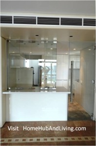 Frameless Doors System selected to match with Kitchen Culture works in penthouse at Aspen Height Flying Door folded 5 197x300 Frameless Doors System selected to design in by designer, matching with European brand from Kitchen Culture systems for high end penthouse designer house in Aspen Height, Singapore River Valley Road (near Orchard Road)