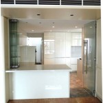 Frameless Doors System selected to match with Kitchen Culture works in penthouse at Aspen Height folded