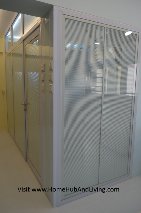 Smart Blinds fully lowed and closed blinds Small Singapore Smart Blinds System For Flexible Privacy and Open Concepts Suits Different Designs (e.g Offices, Study Room, Partitions, Windows, Balcony Doors, Patio and more ideas) Double Glazed Glass with Built in Blinds